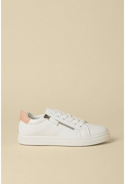Pink Zip Side Detail Lace Up Trainers