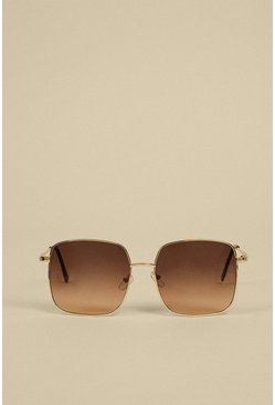 Brown Metal Trimmed Square Sunglasses