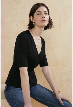 Black Jersey Wrap Top