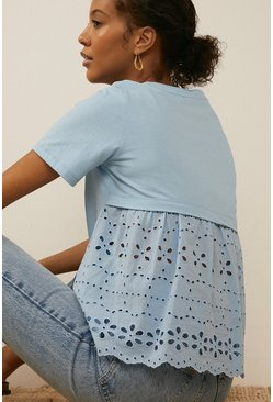 Blue Broderie Mix Woven Back T Shirt