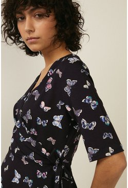 Navy Butterfly Print Jersey Wrap Top