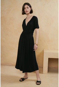 Black Fixed Wrap Jersey Midi Dress