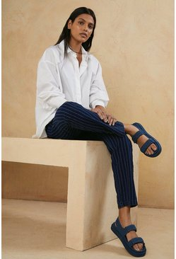 Mid navy Striped Trouser
