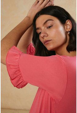 Coral Frill Sleeve T Shirt