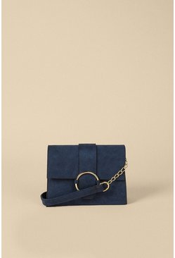 Navy Oversized Ring Buckle Suedette Cross Body Bag