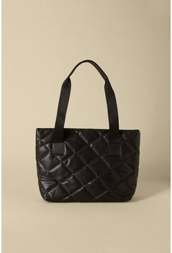 Black Quilted Diamond Tote Bag