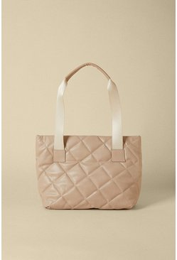 Mink Quilted Diamond Tote Bag