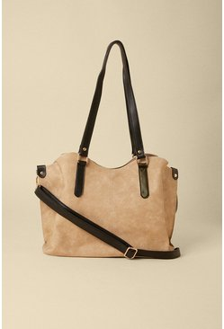Stone Suedette Slouch Tote Bag