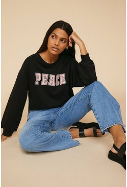 Black Peace Slogan Varsity Sweatshirt