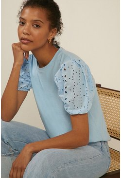 Blue Broderie Woven Mix Puff Sleeve T Shirt