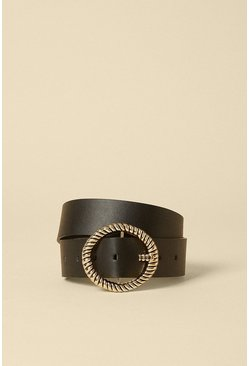 Black Large Circle Textured Buckle Bet