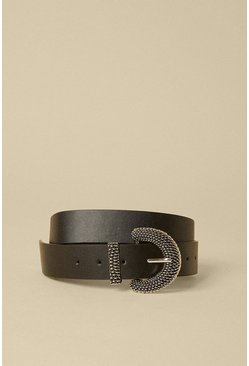 Black Chunky Textured Buckle Belt