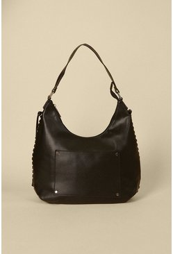 Black Scoop Tassel Tote Bag