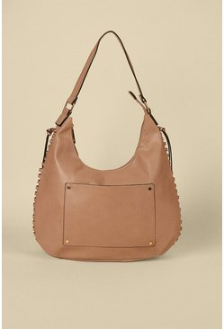 Taupe Scoop Tassel Tote Bag