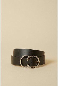 Black Double Circle Ring Buckle Belt