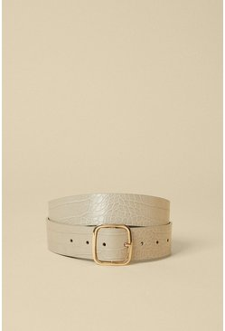 Light grey Rounded Edge Square Buckle Belt