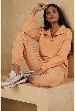 Peach Garment Dye Half Zip Sweatshirt