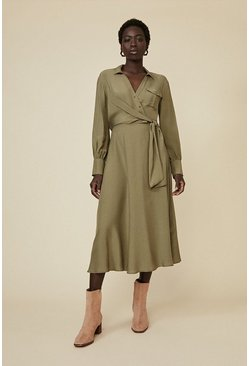 Khaki Utility Wrap Dress
