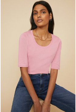 Pink Organic Cotton Scoop Neck Half Sleeve Top