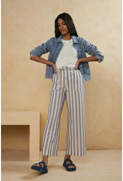 White Striped Wide Leg Trouser