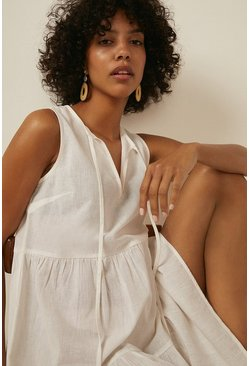 White Linen Look Sleeveless Beach Dress