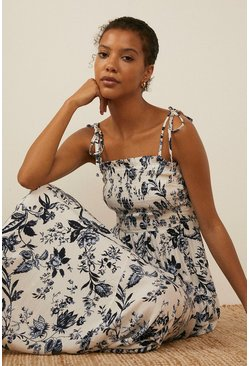 Navy Floral Tie Shoulder Dress