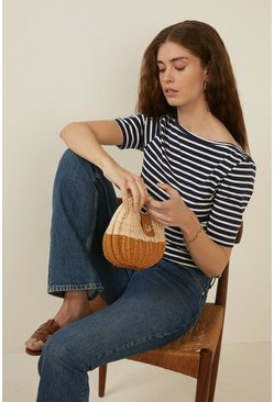 Navy Organic Cotton Stripe Slash Neck Top
