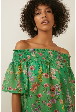 Green All Over Floral Shirred Bardot Dress