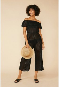 Black Crochet Beach Jumpsuit