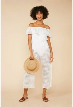 Cream Crochet Beach Jumpsuit