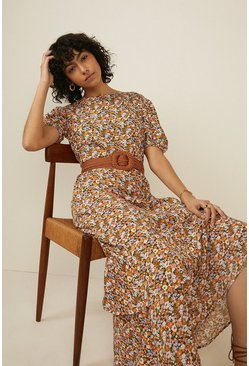 Multi Floral Puff Sleeve Maxi Dress