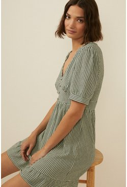 Mint Checked Textured Jersey Skater Dress