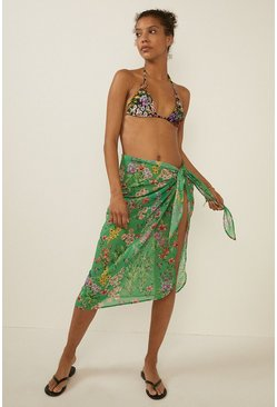 Green All Over Floral Sarong