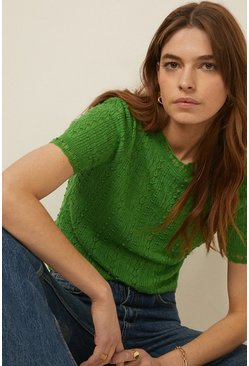 Green Stitchy Knit Top