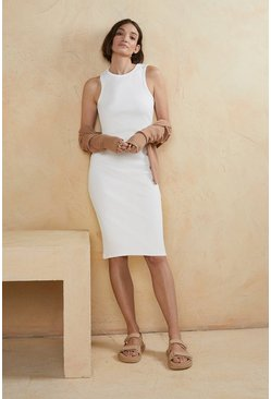 White Rib Racer Bodycon Dress