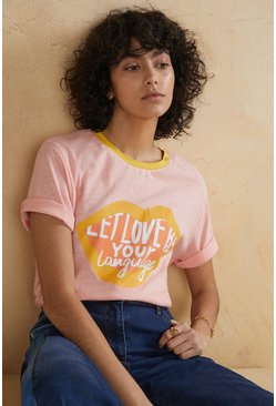 Pink Let Love Be Your Language Printed T Shirt