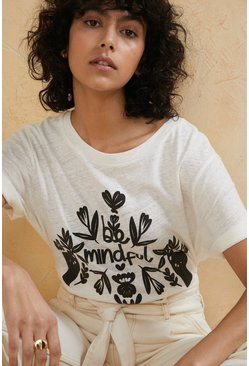 Ivory Be Mindful Puff Print T Shirt