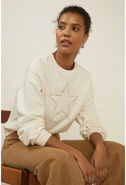 Ivory Lace Star Hotfix Sweatshirt
