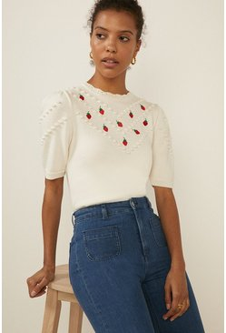 Ivory Strawberry Knit Top