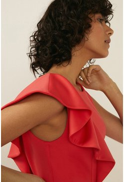 Coral Frill Detail Scuba Pencil Dress