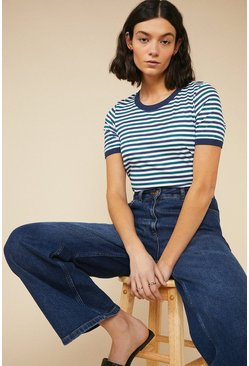 Blue Double Stripe T Shirt
