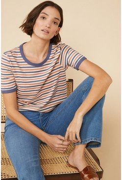 Cream Double Stripe T Shirt