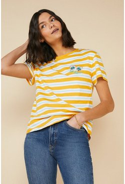 Mustard Sun Kissed Embroidered Stripe T Shirt