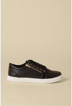 Black Zip Side Lace Up Trainers