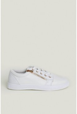 White Zip Side Lace Up Trainers