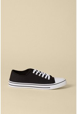 Black Canvas Lace Up Trainer