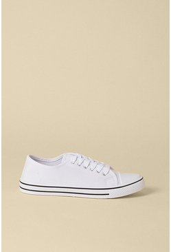 White Canvas Lace Up Trainer
