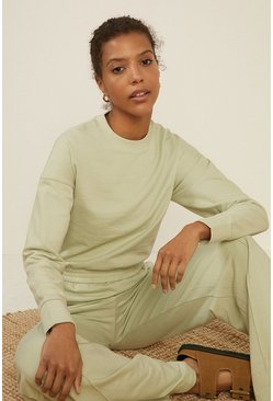 Sage Shirred Hem Sweatshirt