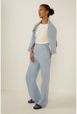 Blue Seam Front Wide Leg Trouser