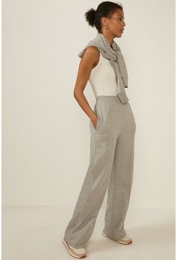 Grey marl Seam Front Wide Leg Trouser
